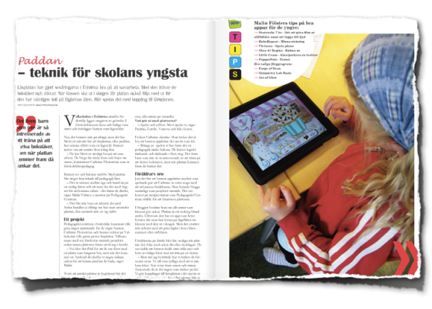 Artikel från familjemagasinet.se om iPad i Vallaskolan (nr 5 2011)